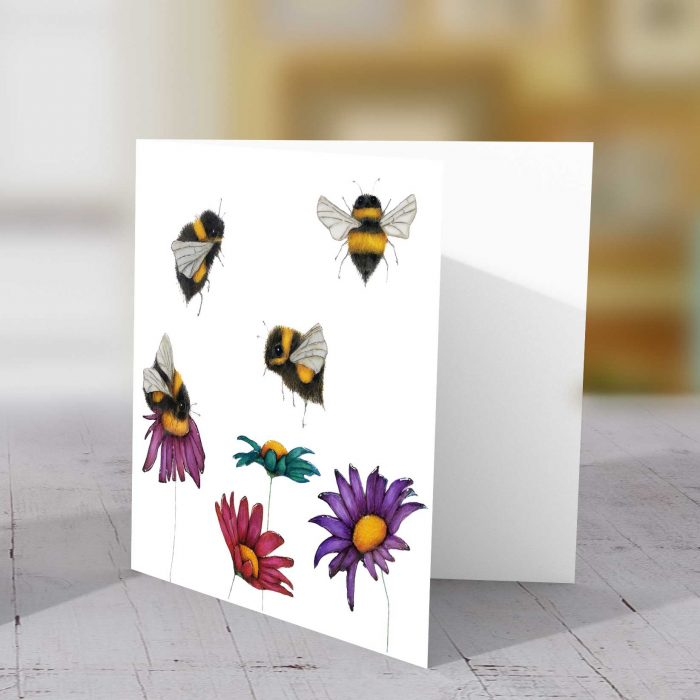 Bees on Flowers Greeting Card