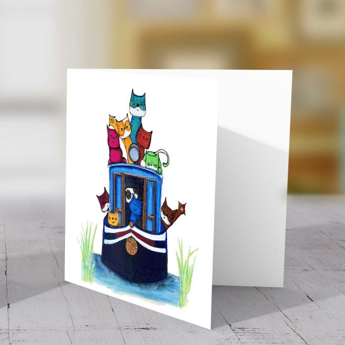 Cats On Barge Greeting Card