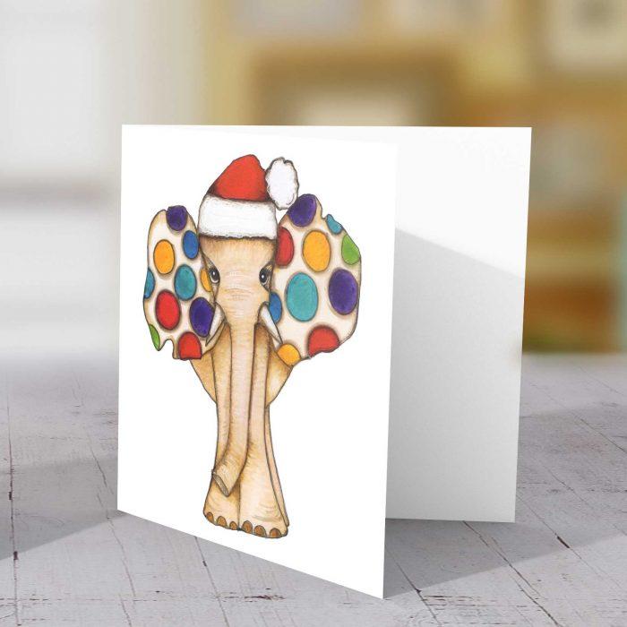 Christmas Spotty Elephant Greeting Card