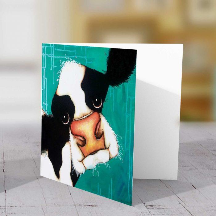 Daisy Cow Green BG Greeting Card