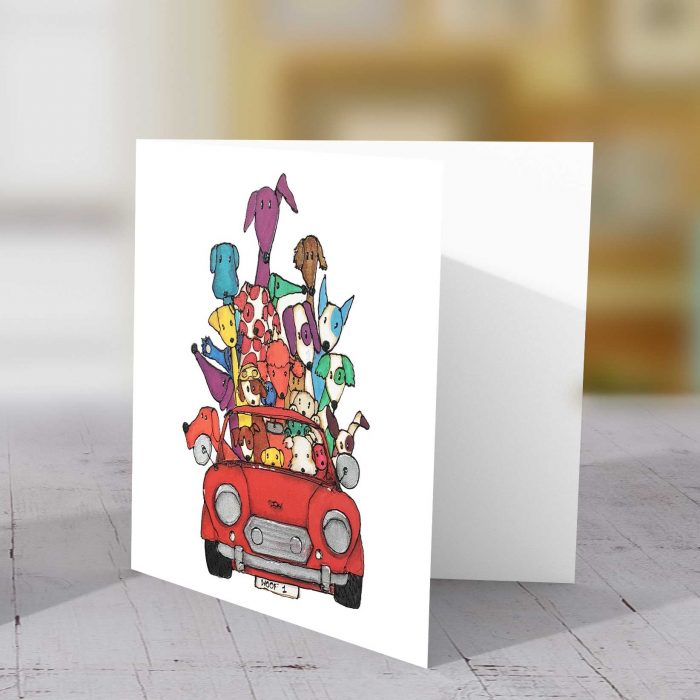 Dogs in Red Mini Greeting Card
