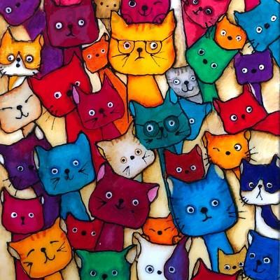 Gazillion cats print on canvas
