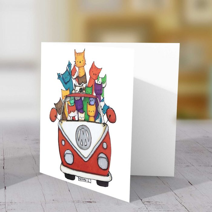 Cats in camper Meoow 1 card