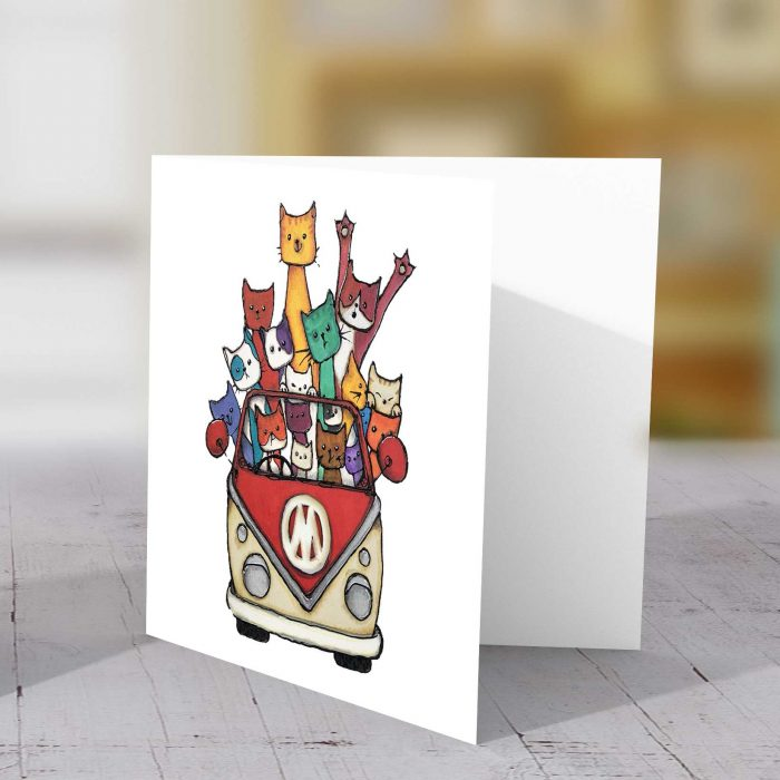 Camper Cats Red Greeting Card