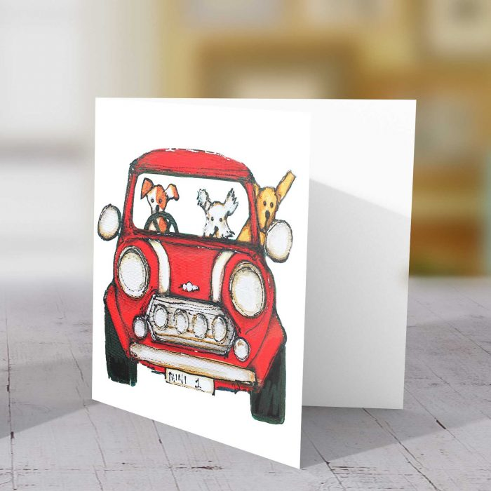 Dogs in red mini scamp and bob card