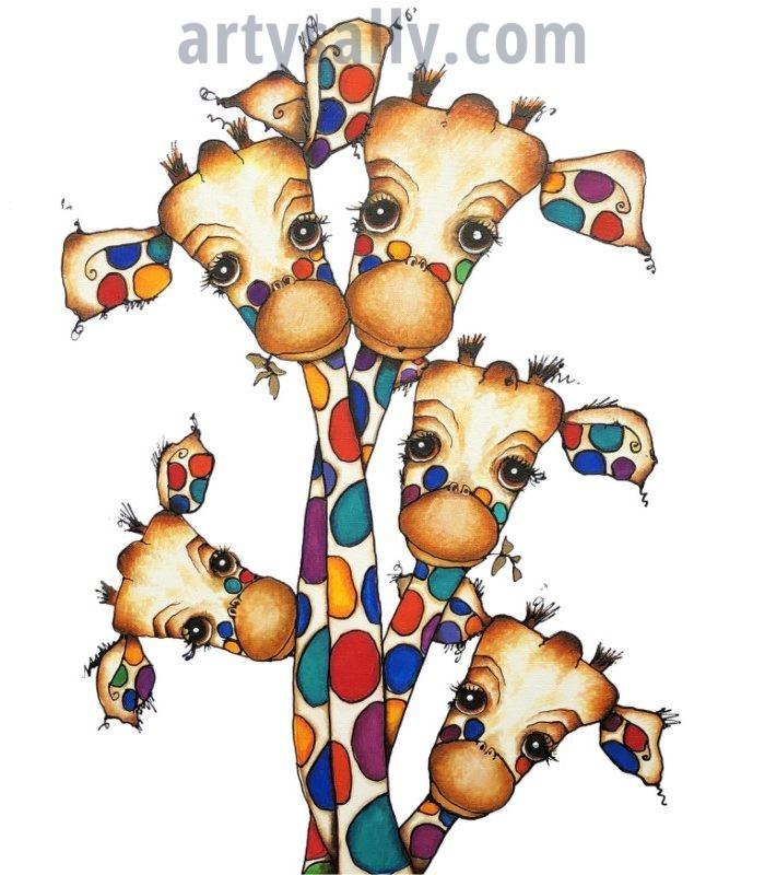 Giraffe Family V2 print on canvas