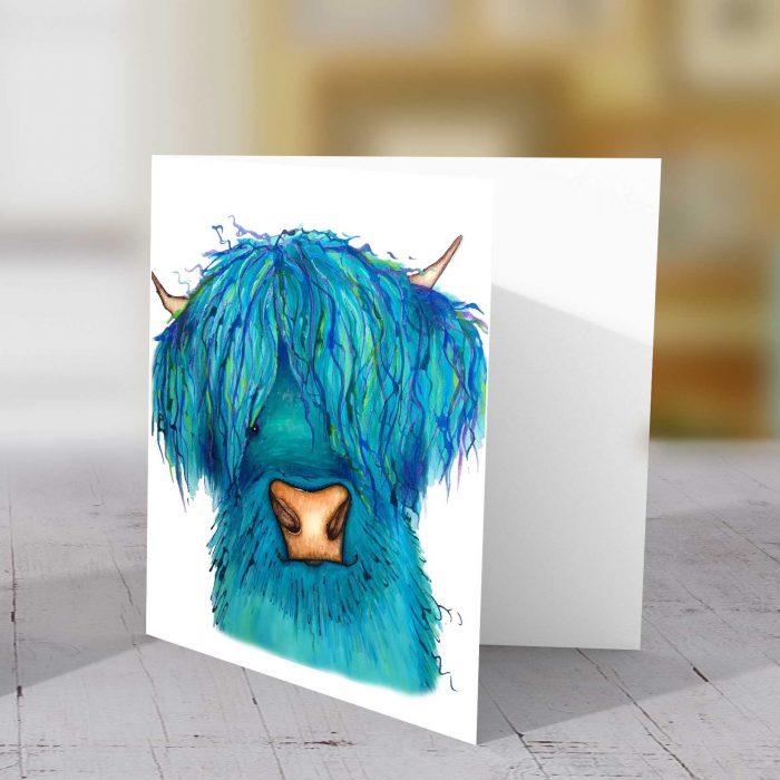Highland cow light blue card