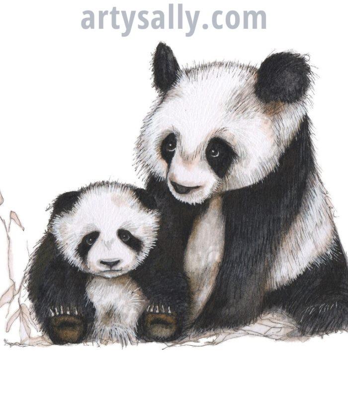 Panda print on canvas