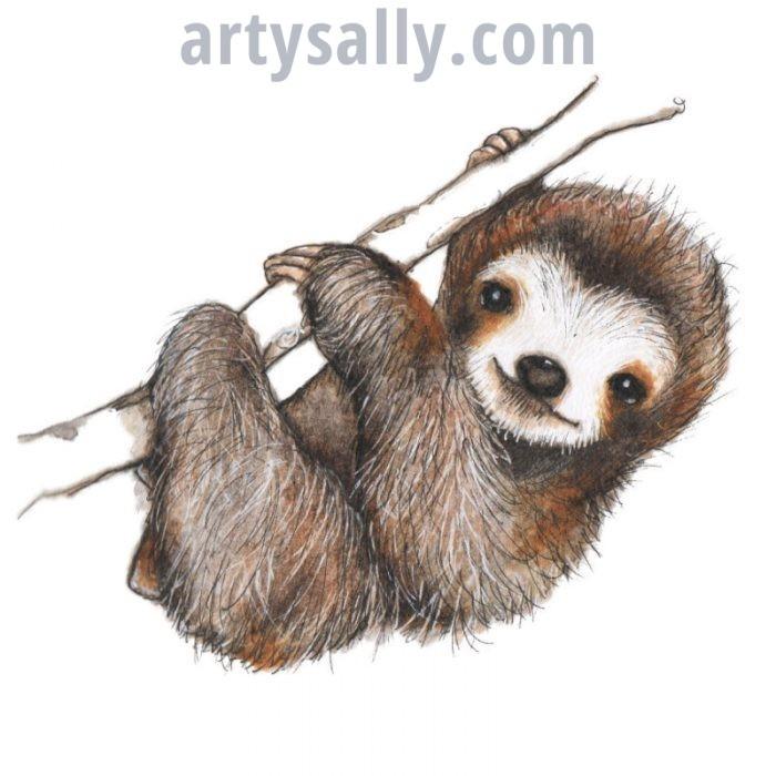 Sloth print on canvas