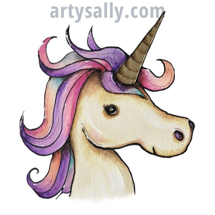 Unicorn print on canvas
