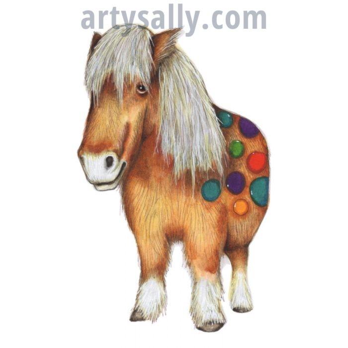 Pony sketch print on canvas