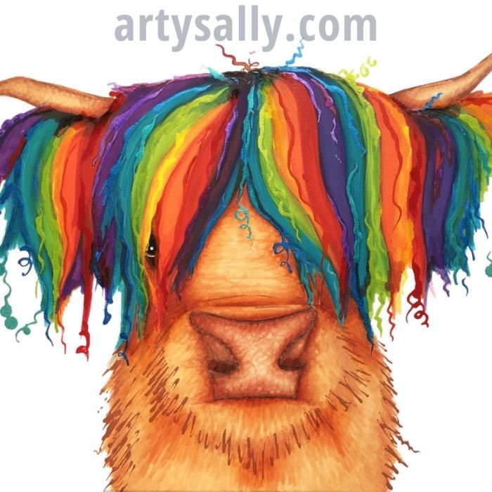 Rainbow Highland Cow