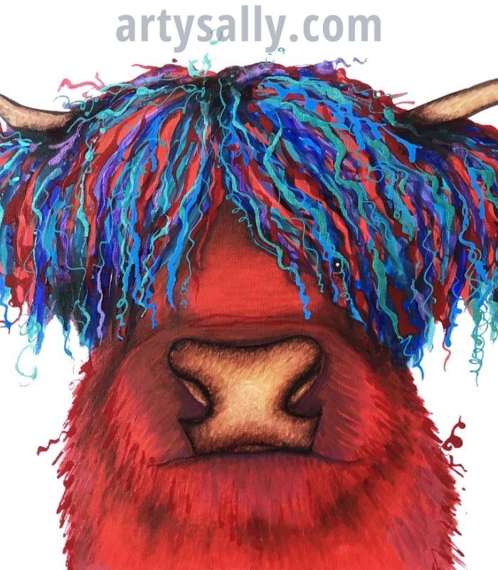 Red with blue hair highland cow print on canvas
