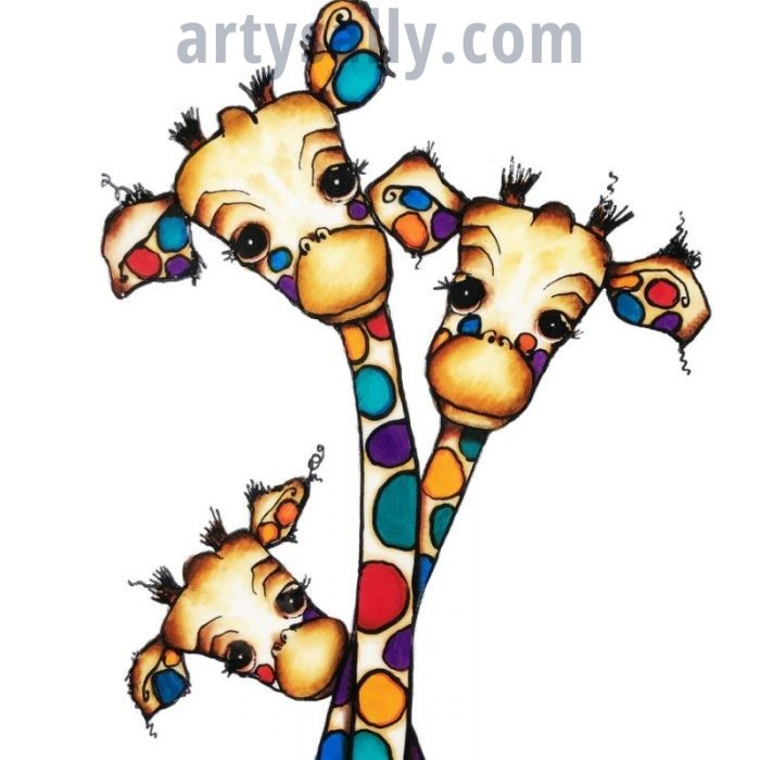 Giraffe family 3 print on canvas