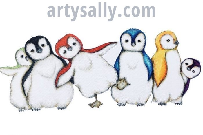 Fluffy Penguins print on canvas