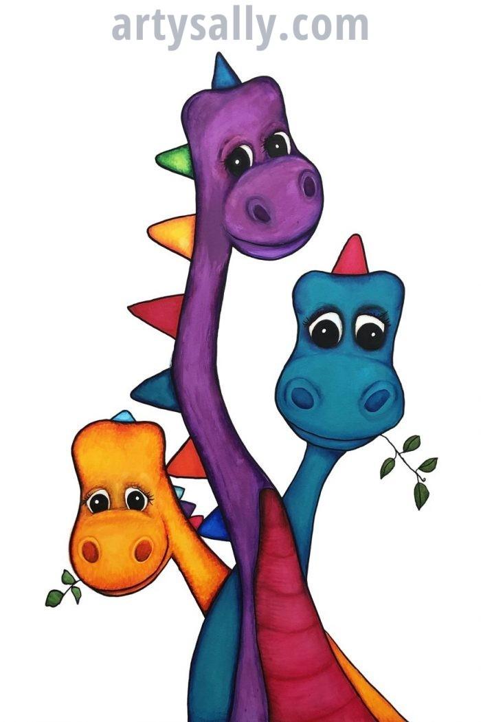 Dinosaur Family 3 print on canvas