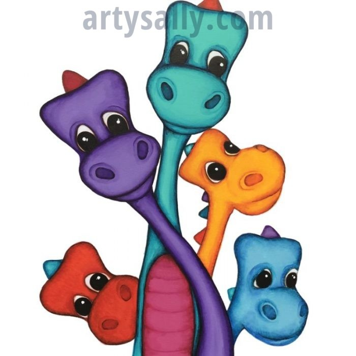 Dinosaur Family 5 print on canvas