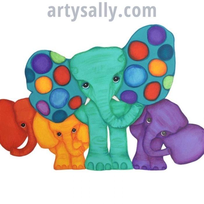 Elephant family of 4 print on canvas