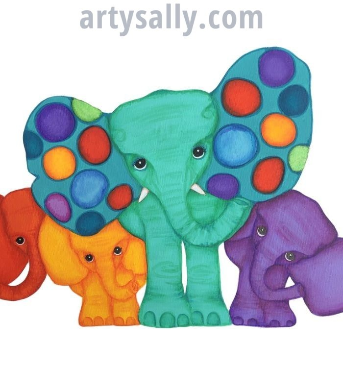 Elephant family of 4 print on canvas