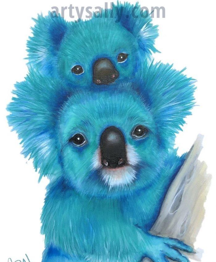 Koalas Family print on canvas