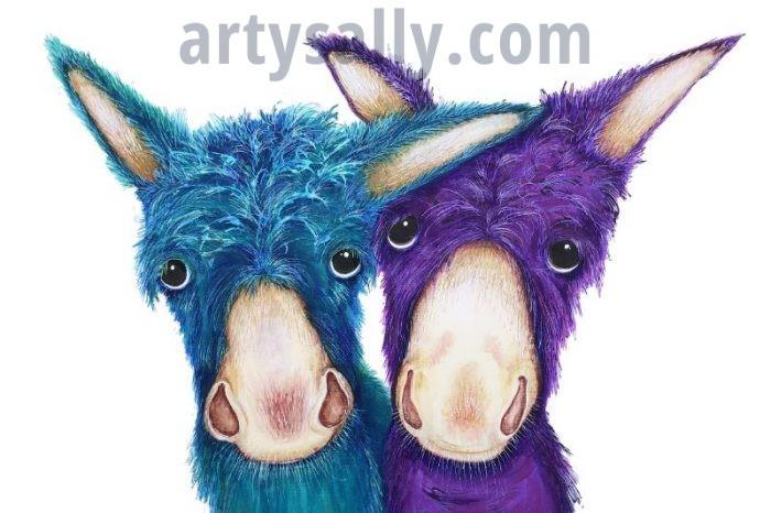 Donkeys colourful canvas print