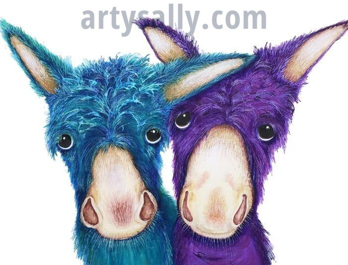 Donkeys colourful canvas print
