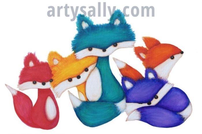 Fox family five print on canvas (30x20)