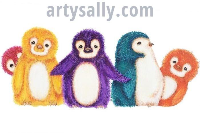 Fluffy Penguins print on canvas