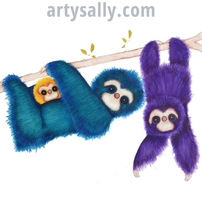 Sloth family with baby print on canvas