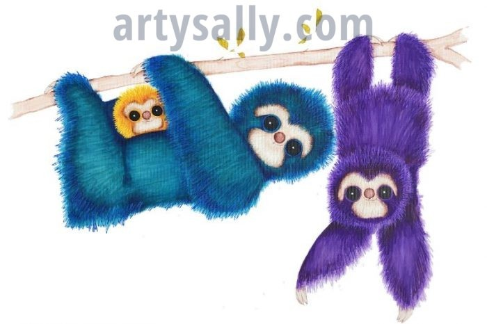 Sloth family with baby print on canvas (20x30)