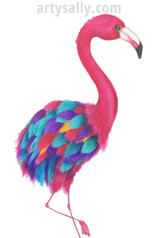 Flamingo spotty print on canvas