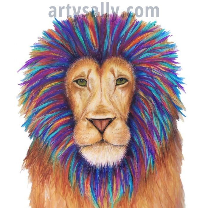 Lion colourful print on canvas