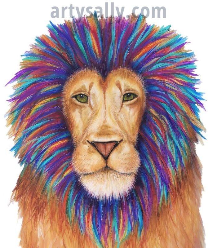 Lion colourful print on canvas