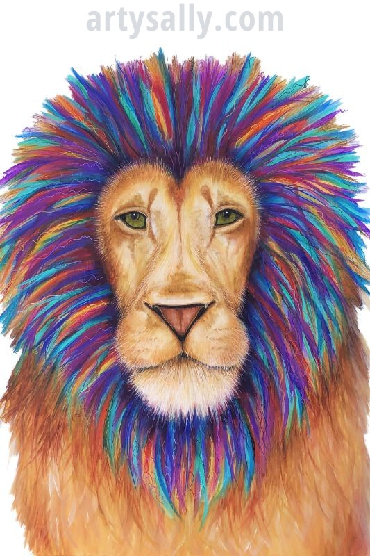Lion colourful print on canvas 20 x30