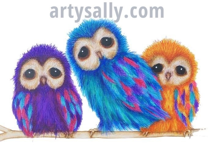 Owl fluffy family of 3 print on canvas (30 x 20)