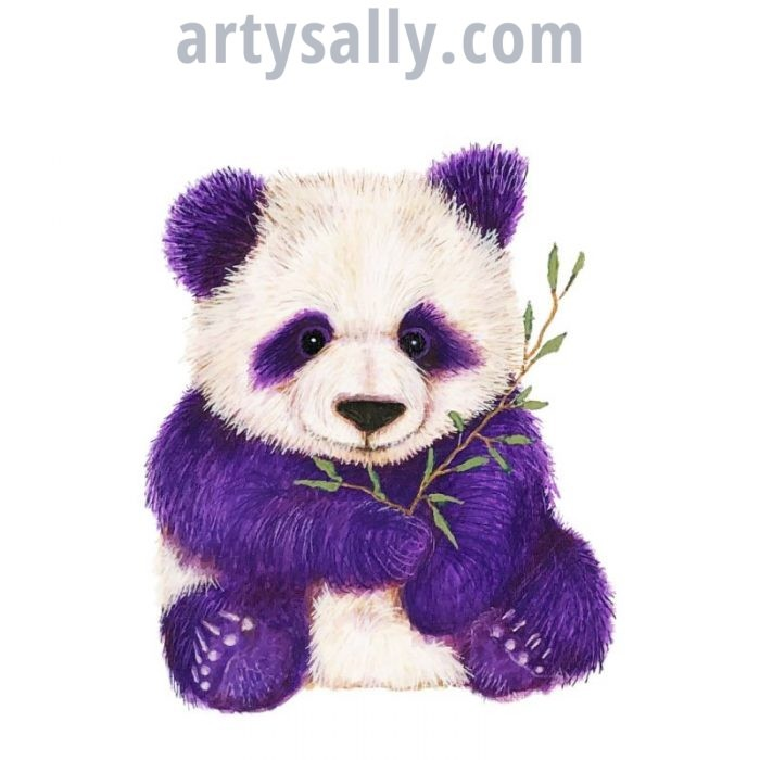Purple Panda Print on Canvas